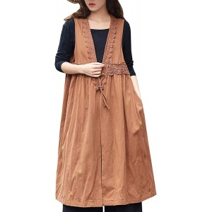 Les umes Womens Cotton Shawl Collar Maternity Vest Plus Size Sleeveless Cardigan Coat with Lace Trim at  Women's Clothing store