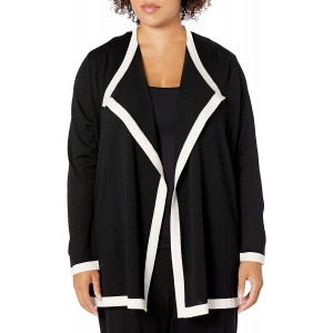 Anne Klein Women's Colorblock Drape Front Cardigan at Women's Clothing store
