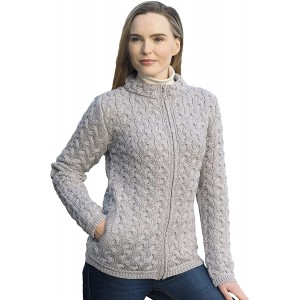 Aran Crafts Women's Chunky Cable Knit Zip Cardigan 100% Super Soft Merino Wool at  Women's Clothing store