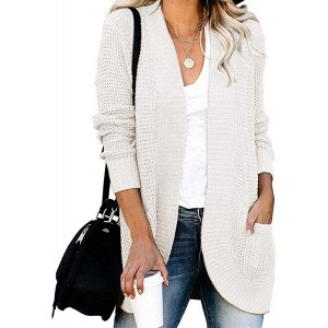 AROGONE Women's Comfy Open Front Waffle Knit Cardigan Sweater Outwear with Pockets at Women's Clothing store