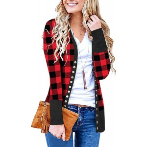 Cowear Women's S-3XL Solid Button Front Knitwears Long Sleeve Casual Cardigans Baffalo Plaid 3XL at Women's Clothing store
