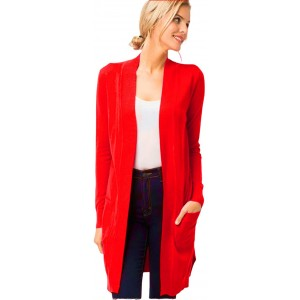 DOUBLEFIVE Women's Solid Basic Long Sleeve Open Front Pockets Duster Soft Stretch Longline Sweater Knit Cardigan - S~3X at  Women's Clothing store