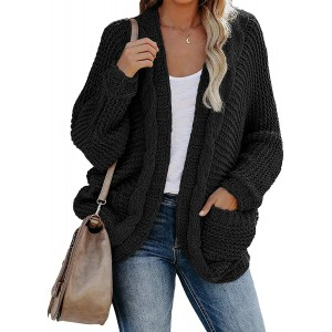 EFAN Women's Long Sleeve Cable Knit Sweater Open Front Cardigan Casual Loose Outerwear with Pocket at  Women's Clothing store