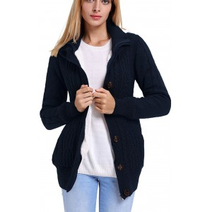 Eternatastic Women Button Up Cardigan Knit Hooded Cable Sweater Coat Outwear with Pockets at  Women's Clothing store