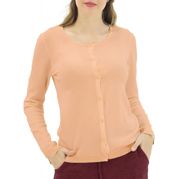 LuluBerry Women's Soft Light Weight Cardigan Sweater Crew Neck Long Sleeve Button Down at Women's Clothing store