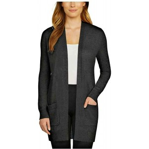 Matty M Women's Ribbed Accents Cardigan Sweater with Pockets at Women's Clothing store