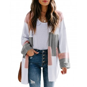 Misassy Womens Oversized Color Block Cardigans Open Front Hooded Knit Drape Duster Sweater with Pockets at  Women's Clothing store
