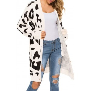 Open Front Sweaters Loose Knit Women Leopard Cardigan Pockets Long Sleeve Coat White at  Women's Clothing store