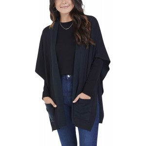 Seek No Further Women's Blanket Cape Poncho Cardigan Brilliant Black OS at  Women's Clothing store
