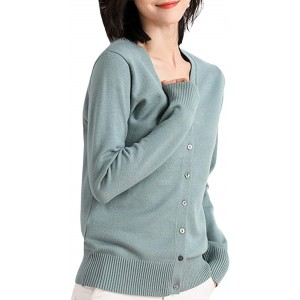 SEMATOMALA Women's Solid V Neck Button Down Long Sleeve Lightweight Basic Supima Cotton Soft Knit Vee Cardigan Sweaters at  Women's Clothing store