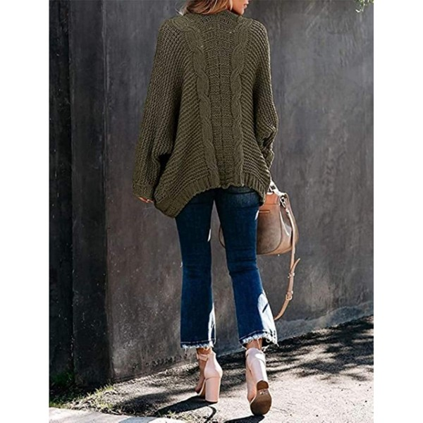 Uaneo Womens Loose Cable Knit Open Front Long Dolman Sleeve Cardigan Sweater at Women's Clothing store