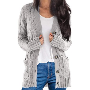 Women's Cardigans Long Sleeve Sweaters Open Front Button Outwear with Pockets at  Women's Clothing store