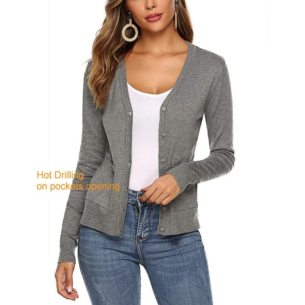 Women's V-Neck Long Sleeve Cardigan Sweater with Pockets Perfect for Daily wear Knit Cardigan at Women's Clothing store