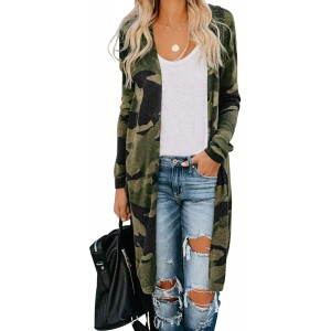 Youdiao Womens Leopard Cardigans Sweater Casual Long Sleeve Camo Lightweight Open Front Cardigan Outwear at  Women's Clothing store