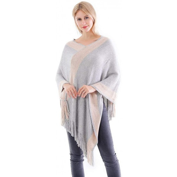 Belle Dame Women's V Neck Striped Poncho Sweater Top Pullover Shawl Wrap Cape with Fringes 152-1 Beige at Women's Clothing store