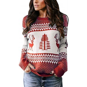 IRISGOD Womens Ugly Christmas Sweater Cute Reindeer Xmas Tree Knit Casual Long Sleeve Pullover Tops at  Women's Clothing store