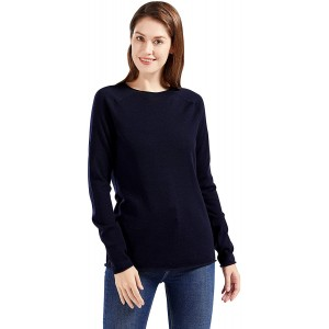 PACIBE Women's Plain Crew Neck Sweater Long Sleeve Pure Merino Wool Seamless Sweater Pullover Tops at  Women's Clothing store