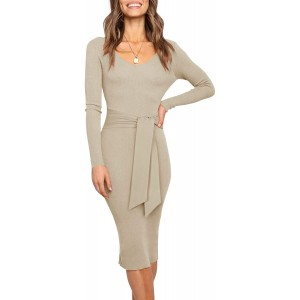 REORIA Women's Sexy V Neck Sweater Dress Fall Long Sleeve Backless Knitted Belt Tie Waist Ribbed Sweater Bodycon Maxi Dresses at  Women's Clothing store