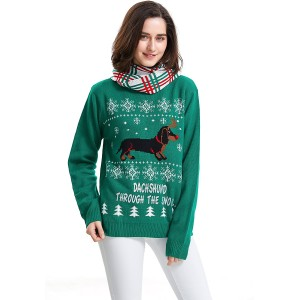 Shineflow Women's Dachshund Through The Snow Ugly Christmas Sweater Pullover Jumper at  Women's Clothing store