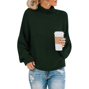 Uonpan Womens Turtleneck Oversized Sweaters Batwing Long Sleeve Pullover Loose Chunky Knit Jumper at  Women's Clothing store