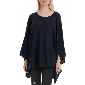 Women's Elegant Solid Knit Poncho Topper Oversize Sweater Pullover Cape Navyblue at  Women's Clothing store