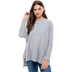 Womens Loose Fit Boxy Top - Waffle knit Blouse Sweater w Side Slits at  Women's Clothing store