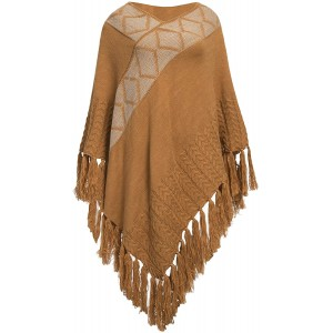 Womens Oversized Cardigan Open Front V-Neck Shawl Wrap with Striped Cable Fringed Poncho Yellow at  Women's Clothing store