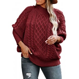 Womens Oversized Turtleneck Sweaters Plus Size Batwing Sleeve Chunky Cable Knit Pullover Loose Jumper Tops at Women's Clothing store