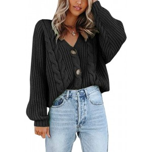 Womens V Neck Button Down Cropped Cardigans Chunky Cable Knit Long Sleeve Sweater Tops Outwear at  Women's Clothing store