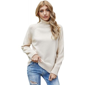 Woolen Bloom Women's Casual Loose Long Sleeve High Neck Sweater Turtleneck Pullover Tops for Winter at Women's Clothing store