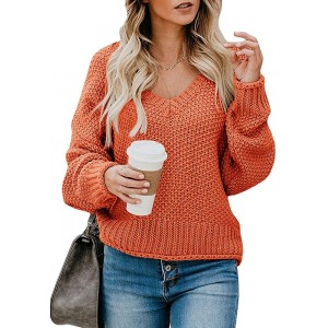 Ybenlow Womens Oversized Sweaters Batwing Sleeve Casual V Neck Chunky Knit Pullover Jumper Slouchy Loose Tops at Women's Clothing store