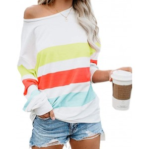 KAKALOT Women's One Off Shoulder Color Block Striped Loose Pullover Sweatshirts Tops at  Women's Clothing store