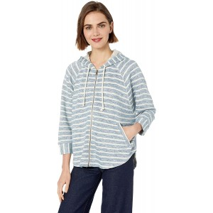 Lucky Brand Women's Stripe Hooded Poncho Sweatshirt Blue Multi X-Small at  Women's Clothing store
