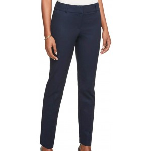 Ann Taylor Womens Tailored Fit Modern Redefined Flat Front Cotton Pants 487670 Navy Blue at Women's Clothing store