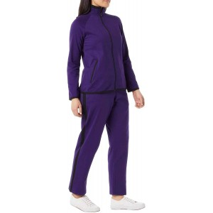 Women's Striped Sweat Suit Set – 100% Cotton Pants and Jacket Outfit Amethyst Black 01X at Women's Clothing store
