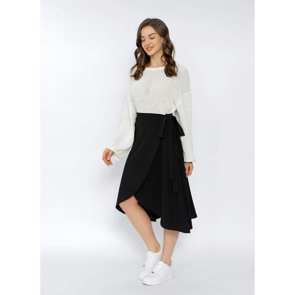 CCIMAGE Faux Wrap Midi Skirt Casual Tie Knot Swing Skirt for Women at Women's Clothing store