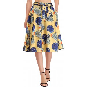 GloryStar Women's High Waist A-Line Flared Skater Skirt Pleated Midi Skirt with Pockets at  Women's Clothing store