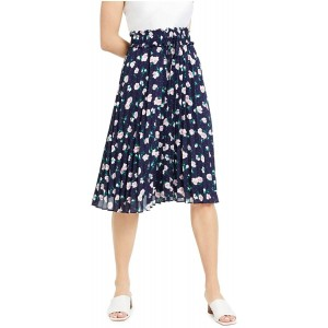Maison Jules Womens Floral Pleated Pleated Skirt at  Women's Clothing store
