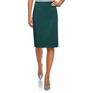 oodji Collection Women's Basic Straight Skirt at Women's Clothing store
