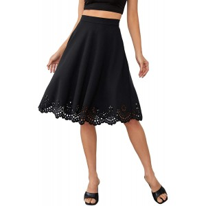 SheIn Women's Casual High Waist A Line Pleated Midi Skirt with Pockets Dark Black X-Large at  Women's Clothing store