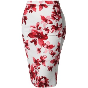 Women's Fitted Stretch Printed High Waist Midi Pencil Skirt at  Women's Clothing store