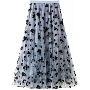 Womens Tutu Tulle Skirts Elastic High Waist Floral Print Mesh Overlay Layered A Line Midi Skirt Blue One Size at  Women's Clothing store