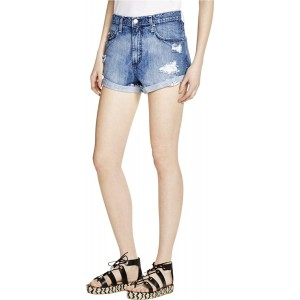 Nobody Womens Super High-Rise Destroyed Denim Shorts Blue 29 at Women's Clothing store