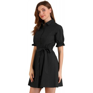 Allegra K Women's Ruffled Short Sleeve Cotton Solid Color Belted Button Down Shirt Dress at  Women's Clothing store