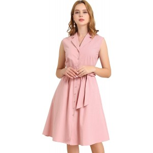 Allegra K Women's Sleeveless Notched Lapel Belted Business Office Midi Shirt Dress at Women's Clothing store