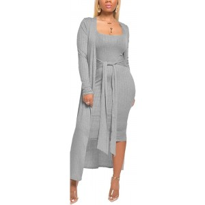 Aro Lora Womens 2 Piece Outfits Open Front Cardigan Tie Knot Tank Bodycon Midi Dress Set Clubwear at Women's Clothing store