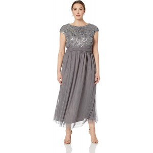 Brianna Women's Plus Size Sequin Top Cap Sleeved Gown with Mesh at  Women's Clothing store
