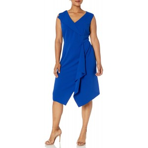 Donna Morgan Women's Plus Size Stretch Crepe V-Neck Fit and Flare Dress at  Women's Clothing store
