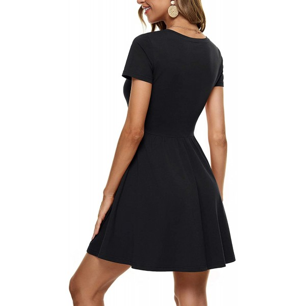 HUHOT Women Short Sleeve Round Neck Empire Waist Dress with Pockets Casual Spring Summer Swing Flared Mini Dress at Women's Clothing store