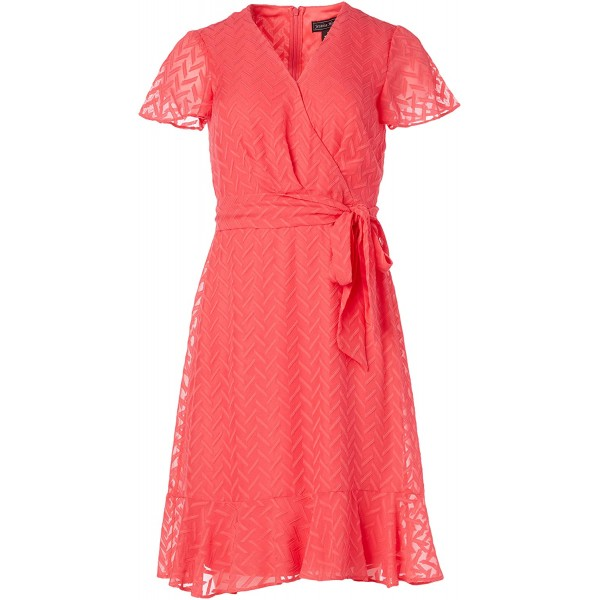 Jessica Howard Women's Butterfly Sleeve Fit and Flare Dress with Tiered Flounce Hem at Women's Clothing store
